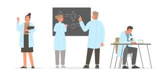 ?? 一套介入研究字符科学家 化学家和生物学家 库存例证