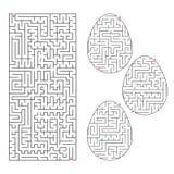 一套以鸡蛋和长方形形状的形式迷宫 黑冲程 儿童小点查找比赛隐藏的草图团结您 简单的平的传染媒介例证 向量例证
