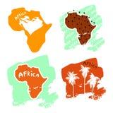 一套仿照儿童` s例证样式的非洲卡片用棕榈树和题字装饰 库存例证