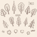 一套传染媒介元素树 免版税库存照片