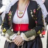 一套传统撒丁岛服装的细节 库存图片