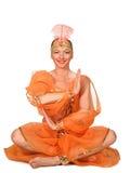 一套传统东方服装的妇女 免版税库存照片