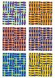 一套六个现代瓦片用不同的颜色变形 免版税库存照片