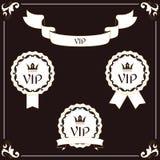 一套典雅的VIP标签和丝带 它在与叶子装饰品的维多利亚女王时代的样式被执行 布朗和老颜色 对设计 库存图片
