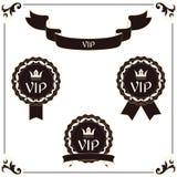 一套典雅的VIP标签和丝带 它在与叶子装饰品的维多利亚女王时代的样式被执行 布朗和老颜色 对设计 免版税库存图片