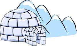 一套冬天园屋顶的小屋房子和冰川 免版税库存图片