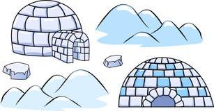 一套冬天园屋顶的小屋房子和冰川 库存照片