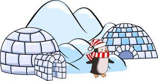 一套冬天园屋顶的小屋房子,在红色和白色围巾和帽子和冰川的企鹅 图库摄影