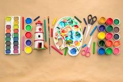 一套创造性和图画爱好的材料 库存图片