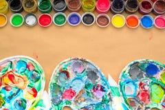 一套创造性和图画爱好的材料 免版税库存照片