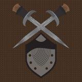 一套双刃剑中世纪盾 免版税图库摄影
