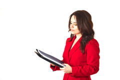 一套古典服装的一个年轻成功的企业夫人 免版税库存照片