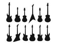 一套各种各样的吉他剪影  低音,电吉他,音响,电声 免版税库存照片