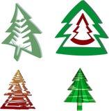一套圣诞树 免版税图库摄影