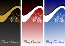 一套圣诞节横幅,与白色响铃的卡片 欢乐后面 免版税库存照片