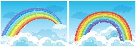 一套在天空的彩虹 向量例证