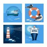 一套在海的题材的4张图片和船、海鸥和灯塔 库存照片