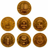 一套在白色背景的纪念硬币, 2014年 库存照片
