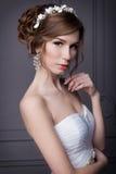 一套婚礼礼服的美丽的甜柔和的女孩新郎与一个花圈和花在她的头发在演播室 库存图片