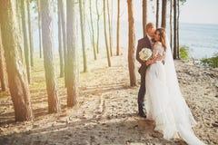 一套婚礼礼服的Photoshoot恋人在海附近的海滩 库存图片