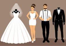 一套婚礼衣裳 选择 新娘的衣裳和 皇族释放例证