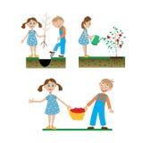 一套工作在庭院里的孩子图画  库存图片
