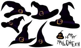 一套巫婆帽子 库存照片