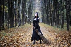 一套巫婆衣服的一名妇女在森林里 免版税库存图片
