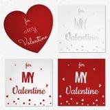 一套情人节摘要卡片或背景与被削减的纸心脏,花,蝴蝶 库存图片