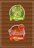 一套标签橄榄油,蕃茄 自然产品 库存照片