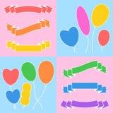 一套横幅和气球色的丝带  文本的空间 在桃红色和蓝色隔绝的简单的平的传染媒介例证 皇族释放例证