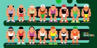 一套比赛字符 队动画片蓝球运动员属于mo 库存例证
