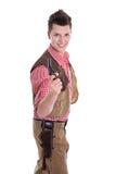 一套牛仔服装的年轻人狂欢节的 库存照片