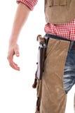 一套牛仔服装的年轻人狂欢节的 免版税库存图片
