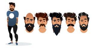 一套理发店的不同的发型 t头  库存例证