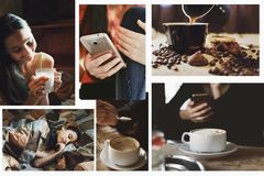 一套生活方式的概念的照片,仿照instagram样式 免版税库存照片
