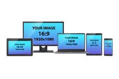 一套电子设备:个人计算机显示器、片剂、膝上型计算机和智能手机以各种各样的屏幕尺寸和长宽比,在白色 向量例证