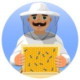 一套白色衣服的蜂农 一个人的画象一套蜂农衣服的与一个蜂窝框架在他的手上 向量 免版税库存图片