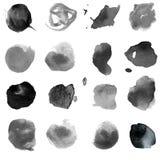 一套的例证黑和灰色颜色水彩斑点  免版税库存图片