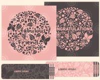 一套祝贺和邀请的卡片 仿照孩子样式 免版税图库摄影