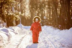 一套红色衣服的小非常逗人喜爱的女孩与毛皮在中的敞篷冬天 免版税库存照片