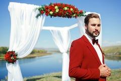 一套红色衣服的新郎与蝶形领结 库存图片