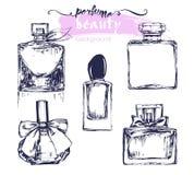 一套美丽的香水瓶剪影  向量 库存图片
