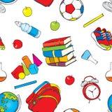 一套美好的学校用品 几何形状,水用苹果,地球,运动鞋,球,闹钟,书 库存例证