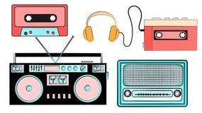 一套老减速火箭的葡萄酒行家音乐设备,从80 ` s, 90 ` s的电子:卡式磁带音频球员,卡型盒式录音机,他 向量例证