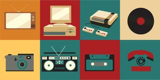 一套老葡萄酒减速火箭的电子象,电视显象管电视,从20世纪70年代, 80s的一台盒式磁带录音机和90s 向量例证