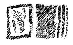 一套背景和新式的w的手写的冲程 免版税图库摄影
