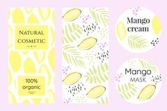 一套芒果化妆用品的标签 库存例证