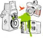 一套葡萄酒照相机,手拉 免版税库存图片