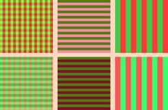 一套蓝色和桃红色的简单的无缝的镶边和方格的样式 库存例证